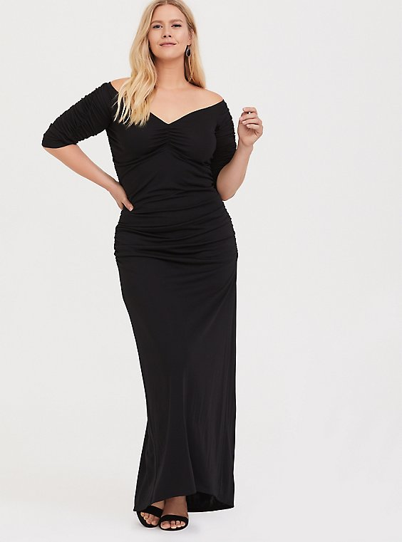 Special Occasion Black Jersey Ruched Off Shoulder Gown, , hi-res