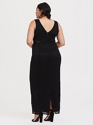 Plus Size Special Occasion Black Lace Square Neck Gown, DEEP BLACK, alternate