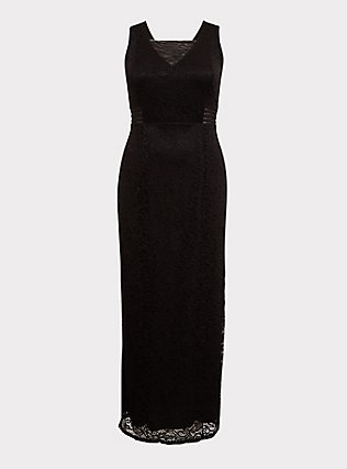 Special Occasion Black Lace Square Neck Gown, DEEP BLACK, flat