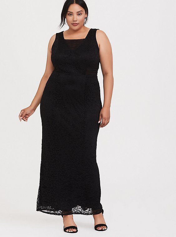 Special Occasion Black Lace Square Neck Gown, , hi-res