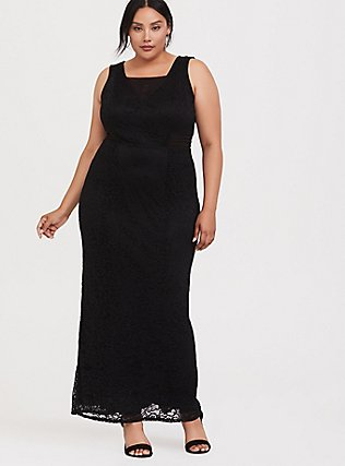 Plus Size Special Occasion Black Lace Square Neck Gown, DEEP BLACK, hi-res