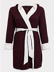 Plus Size Burgundy Purple Waffle-Knit & Sherpa Trimmed Sleep Robe, BURGUNDY, hi-res