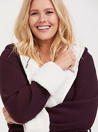 Burgundy Purple Waffle-Knit & Sherpa Trimmed Sleep Robe, BURGUNDY, hi-res