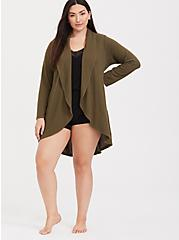 Plus Size Olive Green Shawl Collar Sleep Cardigan, OLIVE, alternate
