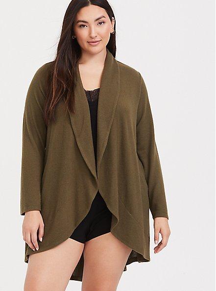 Olive Green Shawl Collar Sleep Cardigan, OLIVE, hi-res