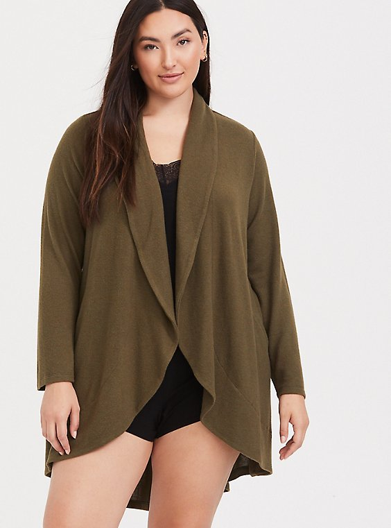 Plus Size Olive Green Shawl Collar Sleep Cardigan, , hi-res