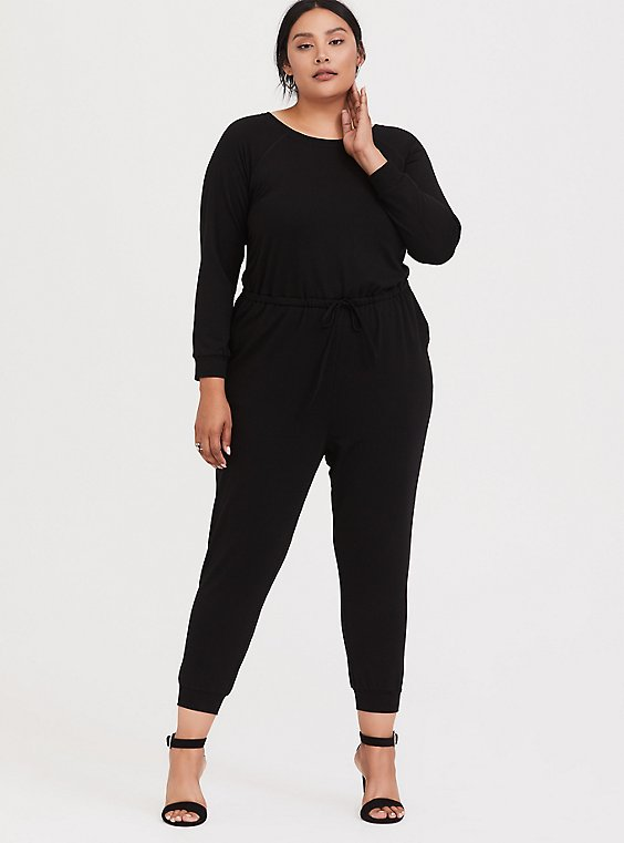 Plus Size Black French Terry Drawstring Jumpsuit, , hi-res