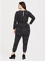 Dark Grey Camo Terry Jumpsuit, CAMO BLACK, alternate