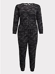 Dark Grey Camo Terry Jumpsuit, CAMO BLACK, hi-res