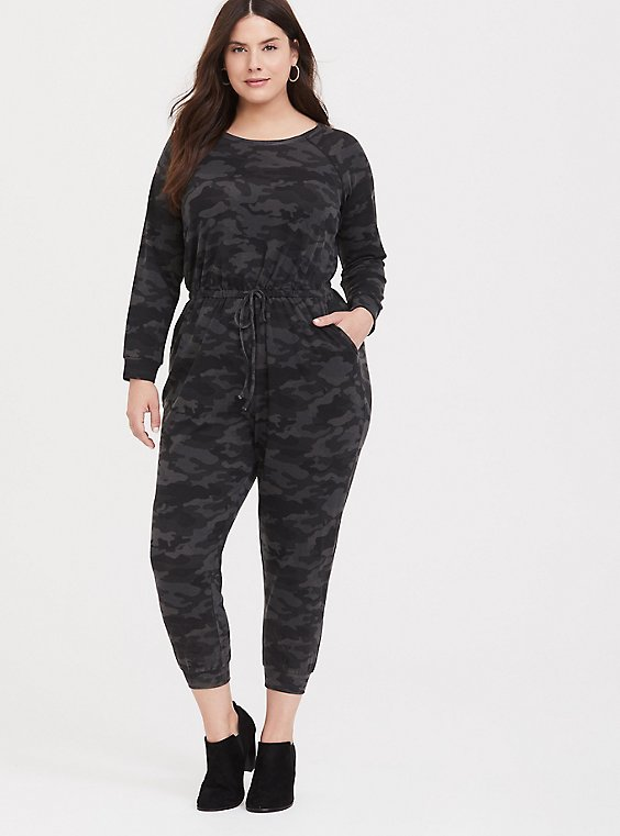 Dark Grey Camo Terry Jumpsuit, , hi-res