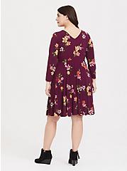 Burgundy Purple Floral Studio Knit Cinched Skater Dress, FLORAL - PURPLE, alternate