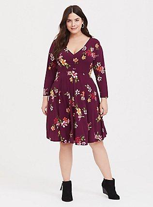 Burgundy Purple Floral Studio Knit Cinched Skater Dress, FLORAL - PURPLE, hi-res