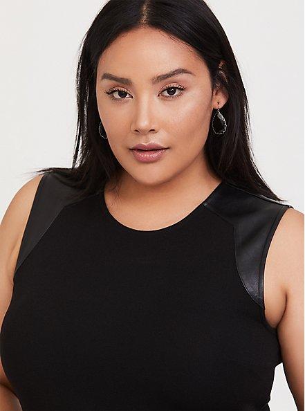 Black Crepe & Faux Leather Shoulder Sheath Dress, DEEP BLACK, alternate