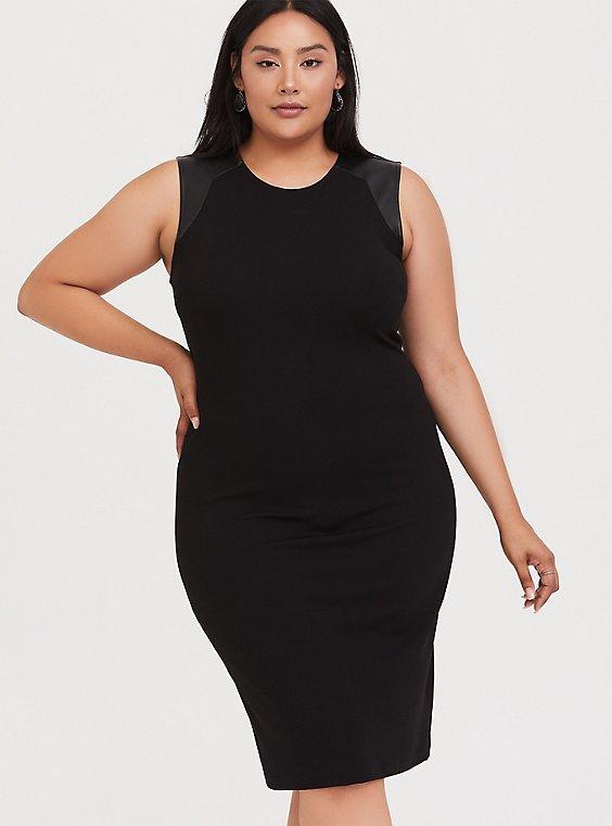 Black Crepe & Faux Leather Shoulder Sheath Dress, , hi-res