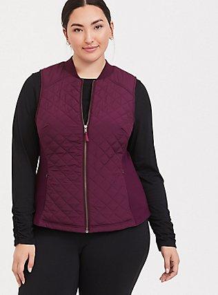 Burgundy Purple Puffer Zip Active Vest, BURGUNDY, hi-res