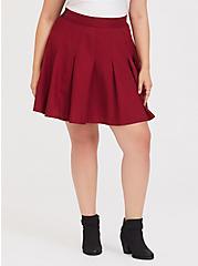 Red Twill Pleated Skater Skirt, BIKING RED, alternate