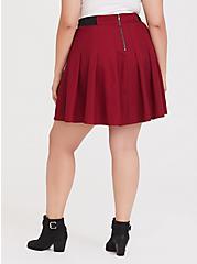 Dark Red Twill Pleated Mini Skater Skirt, BIKING RED, alternate