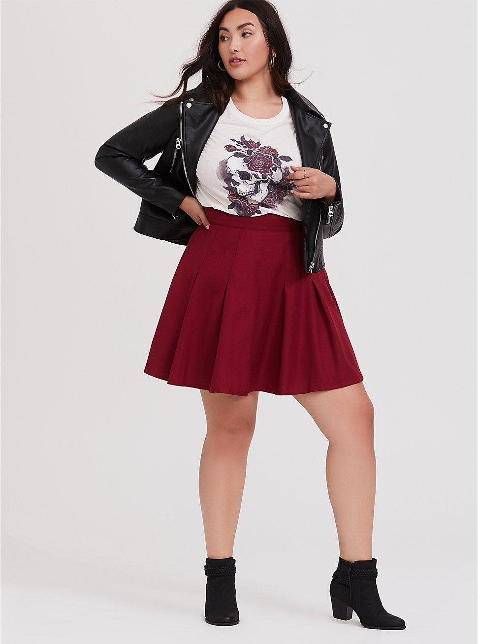 Red Twill Pleated Skater Skirt, BIKING RED, hi-res
