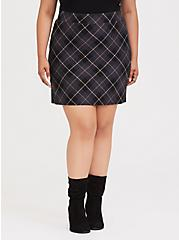 Dark Grey Plaid Premium Ponte Mini Skirt, PLAID - GREY, alternate
