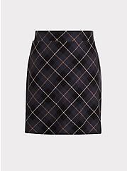 Dark Grey Plaid Premium Ponte Mini Skirt, PLAID - GREY, hi-res
