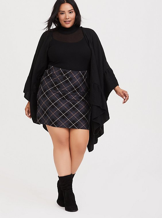 Dark Grey Plaid Premium Ponte Mini Skirt, , hi-res