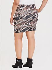 Snakeskin Print Foldover Mini Skirt, SNAKE - BROWN, alternate