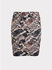 Snakeskin Print Foldover Mini Skirt, SNAKE - BROWN, hi-res