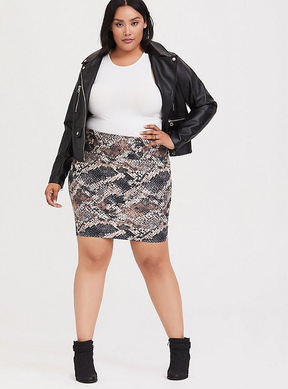 Snakeskin Print Foldover Mini Skirt, , hi-res