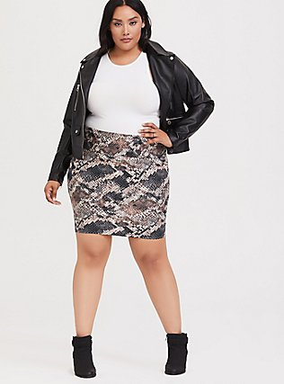 Snakeskin Print Foldover Mini Skirt, SNAKE - BROWN, hi-res