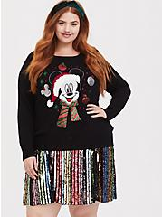 Disney Holiday Mickey Mouse Black Holiday Sweater, DEEP BLACK, hi-res