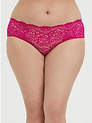 Neon Pink Lace Caged Hipster Panty, SUPERSONIC, alternate