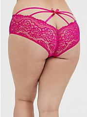 Neon Pink Lace Caged Hipster Panty, SUPERSONIC, hi-res