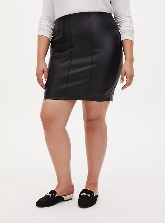 Black Faux Pleather Mini Skirt, , hi-res