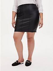 Black Faux Pleather Mini Skirt, DEEP BLACK, hi-res