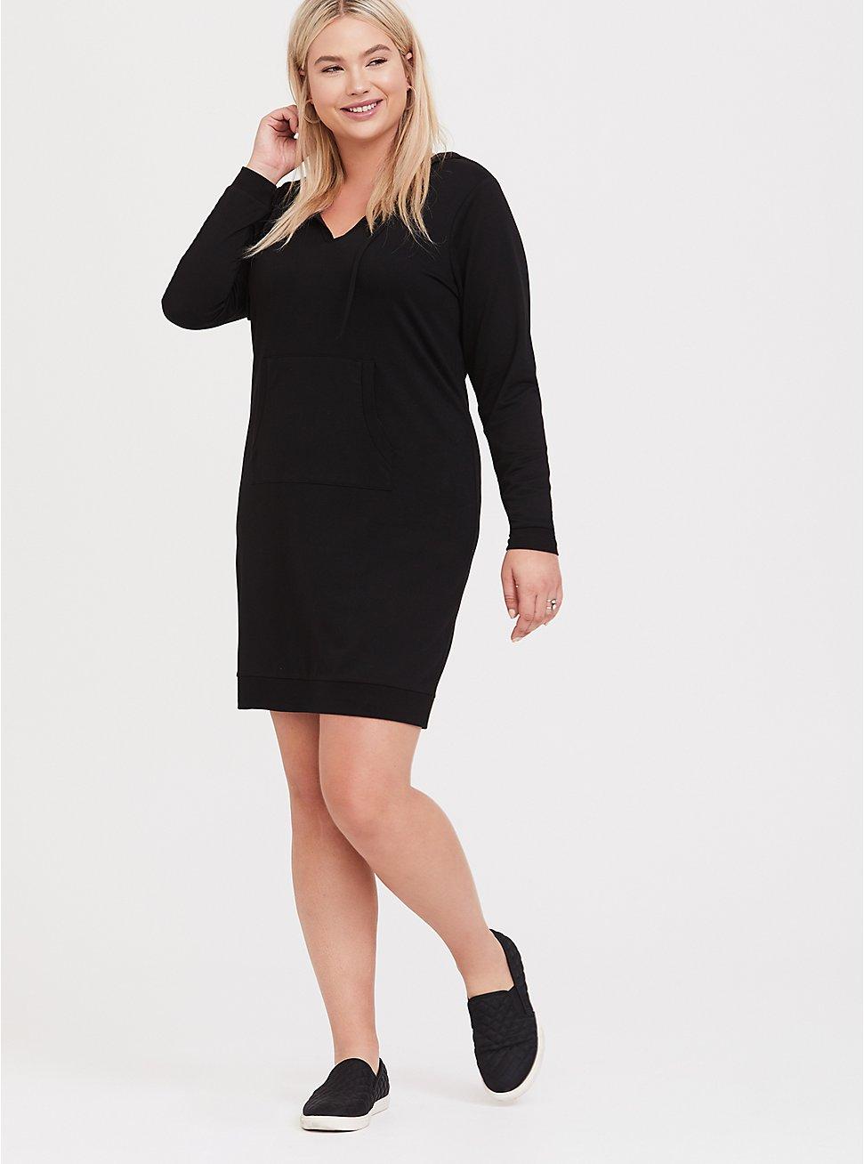 Black Hooded Terry Dress, DEEP BLACK, hi-res