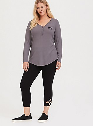 Grey Skull Waffle Knit Snap Henley Long Sleeve Tee, MEDIUM HEATHER GREY, alternate