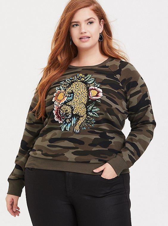 Camo Embroidered Leopard Sweatshirt, , hi-res