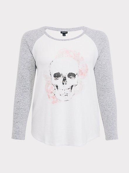 White & Grey Floral Skull Hacci Raglan Tee, CLOUD DANCER, hi-res