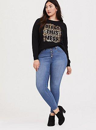 Plus Size Bless This Mess Black Metallic Floral Sweatshirt, DEEP BLACK, alternate