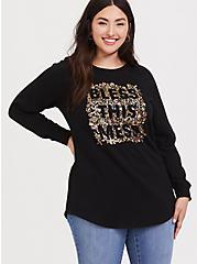 Bless This Mess Black Metallic Floral Sweatshirt, DEEP BLACK, alternate