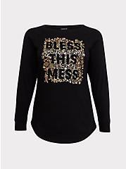 Bless This Mess Black Metallic Floral Sweatshirt, DEEP BLACK, hi-res