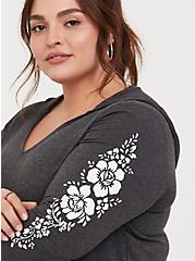 Plus Size Super Soft Charcoal Grey Floral Sleeve Hoodie, CHARCOAL, alternate