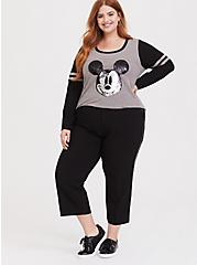 Disney Holiday Mickey Mouse Flip Sequin Grey Raglan Top, HEATHER GRAY  BLACK, alternate