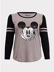 Disney Holiday Mickey Mouse Flip Sequin Grey Raglan Top, HEATHER GRAY  BLACK, hi-res