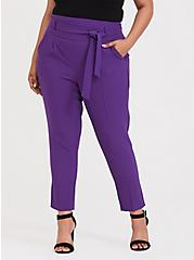 Plus Size High Waisted Tie-Front Skinny Pant - Purple, BRIGHT GRAPE, alternate