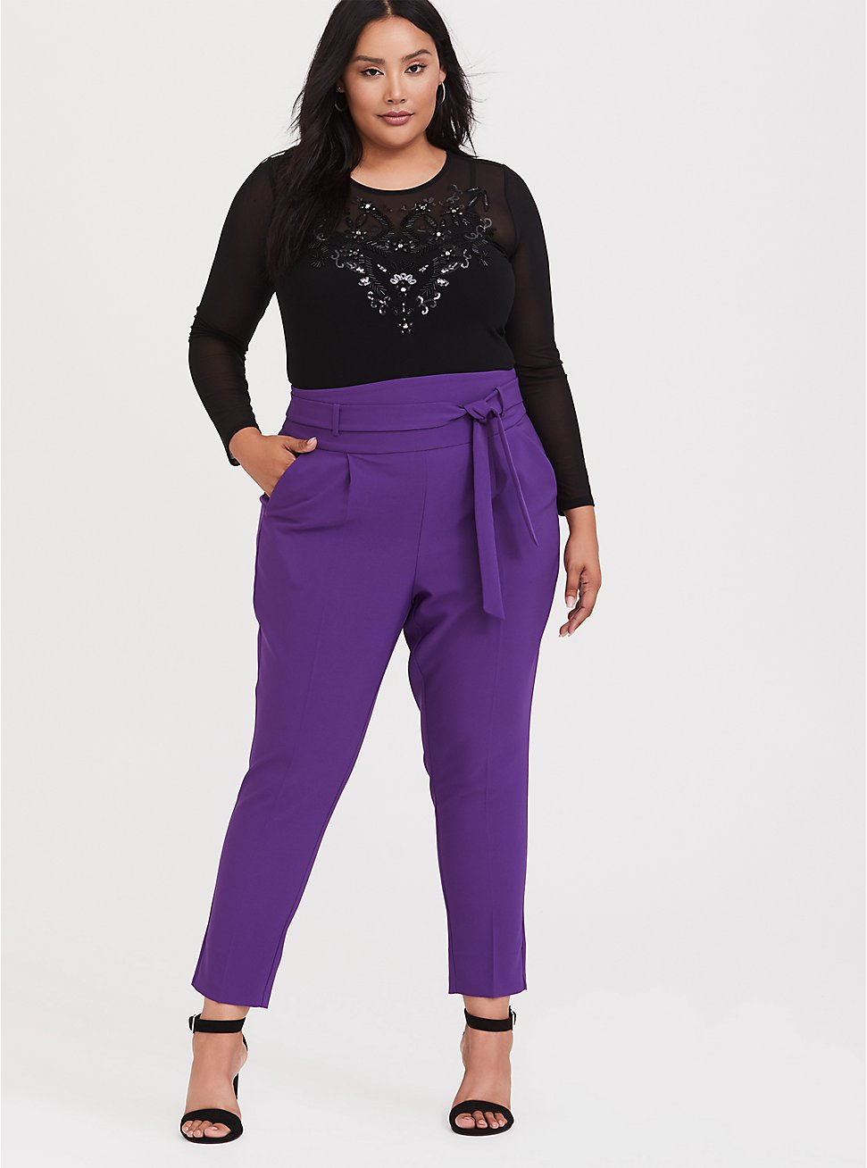 Plus Size High Waisted Tie-Front Skinny Pant - Purple, BRIGHT GRAPE, hi-res