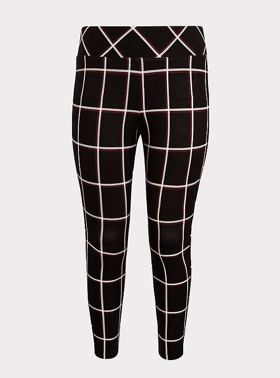 Studio Ponte Slim Fix Pixie Pant - Black Plaid , , flat