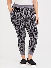 Slate Grey Zebra Print Drawstring Jogger, SIENNA ZEBRA, alternate