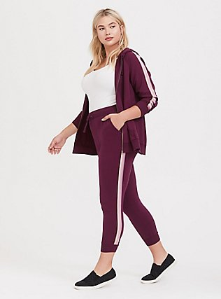 Burgundy Purple Terry Stripe Jogger, HIGHLAND THISTLE, hi-res