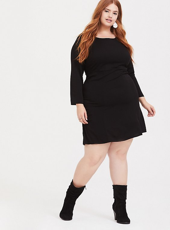 Black Challis Shift Dress, , hi-res
